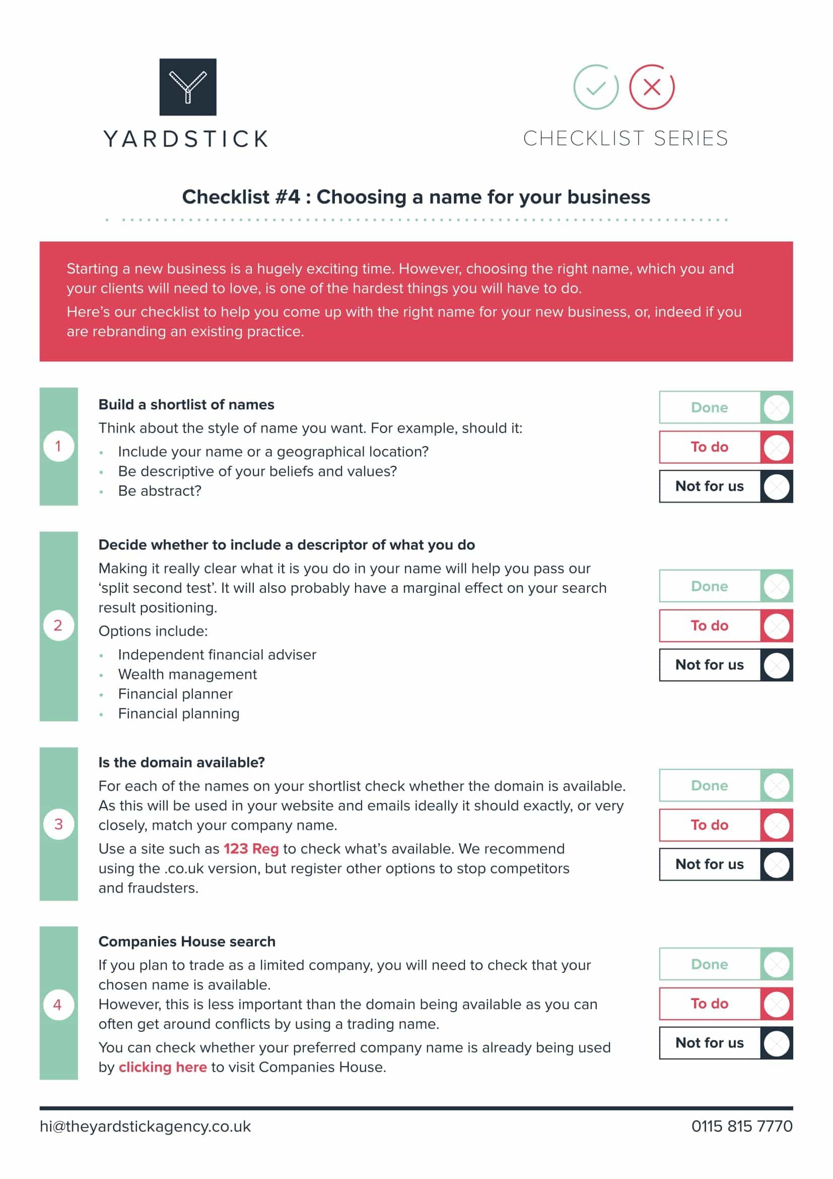 Checklist #4: Choosing a name for your business